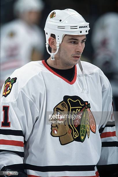 This is a close up of center Peter White of the Chicago Blackhawks The picture was taken during the NHL game against the Colorado Avalanche at the...