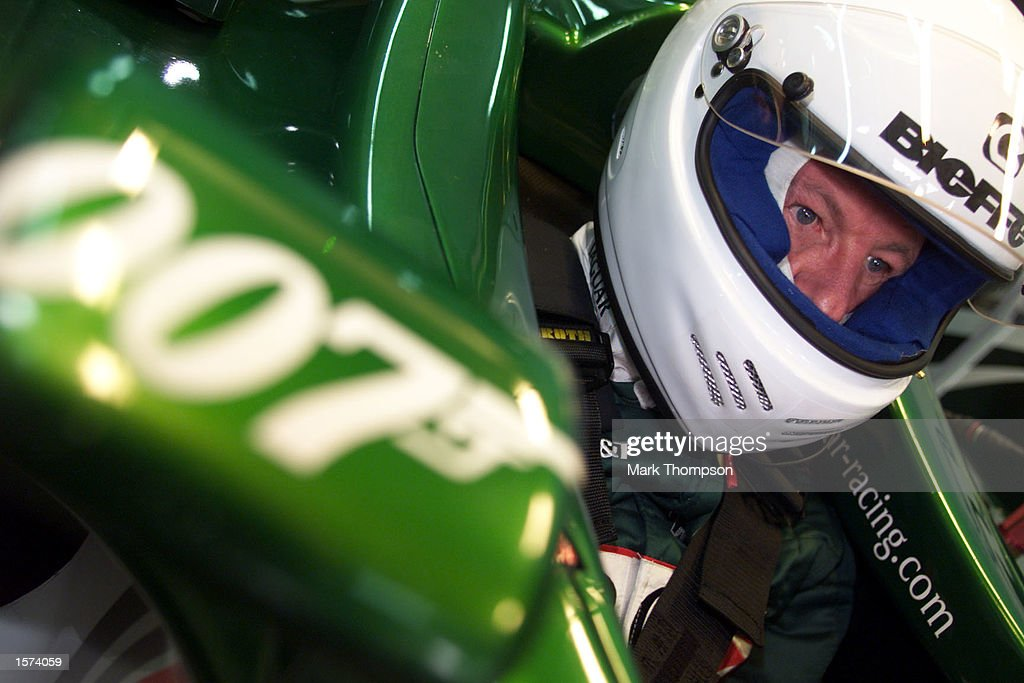 Wolfgang Reitzle the chairman of Jaguar cars prepares to drive in the Jaguar R2 Formula one car the circuit Ricardo Tormo in Valencia Spain DIGITAL...