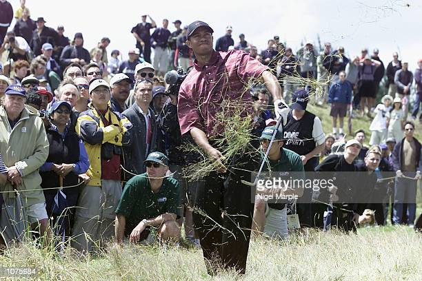 World No1 Tiger Woods plays his second shot from the deep rough on the par 5 7th hole during the final round at the New Zealand Open 2002 at...