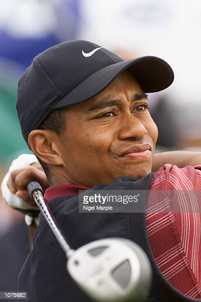 World No1 Tiger Woods tees off at the first hole of the final round at the New Zealand Open 2002 at Paraparaumu Beach golf course near Wellington...