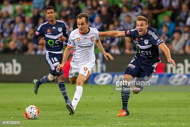 Steven Lustica of the Brisbane Roar and Nick Ansell of Melbourne Victory contest the ball during the 15th round of the 201516 Hyundai ALeague Season...