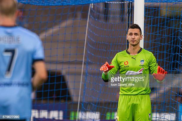 Vedran Janjetovic of Sydney FC directs his team mates during a corner during the 13th round of the 201516 Hyundai ALeague Season between Melbourne...