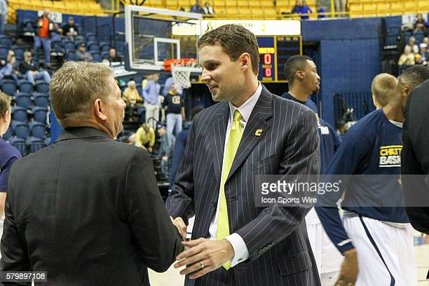 Jan 22 2015 Virginia Military Keydets head coach Duggar Baucom and Chattanooga Mocs head coach Will Wade greet each other before the game between VMI...