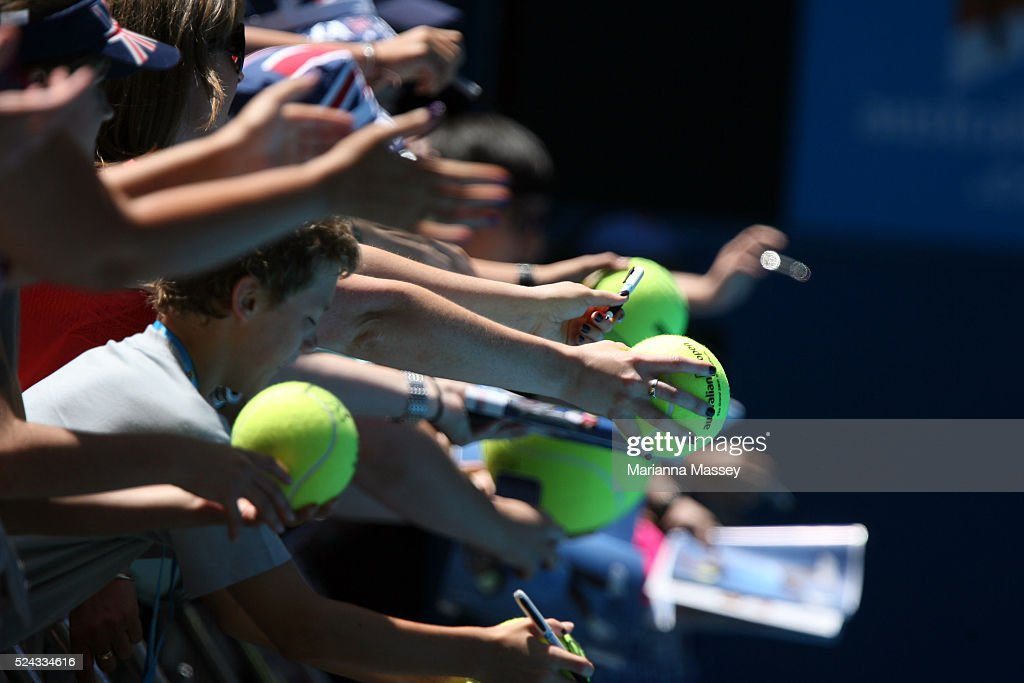 Jan 23 2010 Melbourne Victoria Australia Fans wait for autographs after Serena Williams defeated Carla Suarez Navarro 60 63 in their third round...