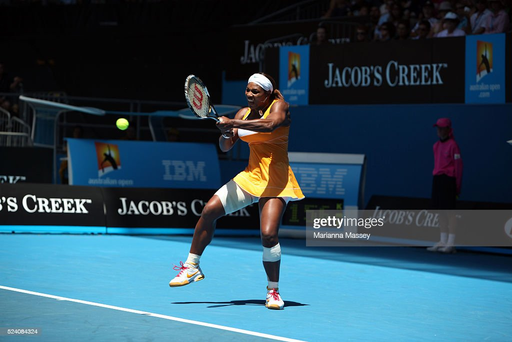 Jan 23 2010 Melbourne Victoria Australia Serena Williams defeated Carla Suarez Navarro 60 63 in their third round match at Hisense Arena during the...