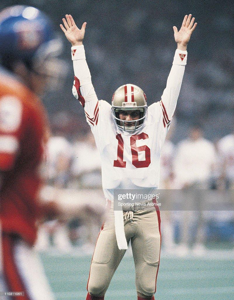 Jan 28, 1980 - Miami, Florida, USA - San Francisco 49ers JOE MONTANA, celebration against Denver Broncos in Super Bowl 24 at the Louisiana Superdome.