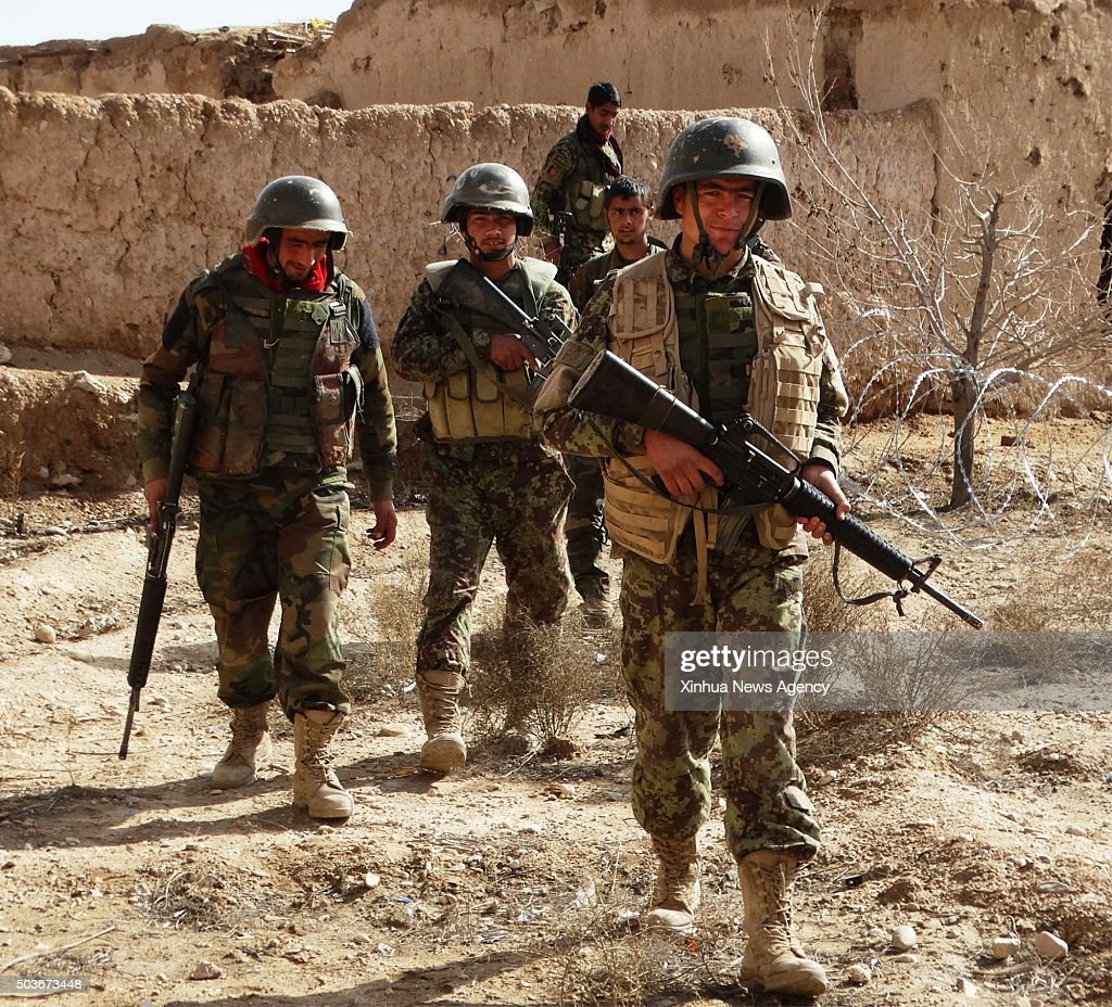 HELMAND Jan 6 2016 Afghan army soldiers take part in a military operation in Nad Ali district of Helmand province Afghanistan Jan 6 2016 Some 39...