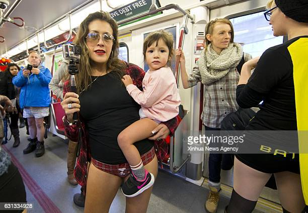 A little girl takes part in the 2017 No Pants Subway Ride in Toronto Canada on Jan 8 2016 Hundreds of participants took part in the annual event in...