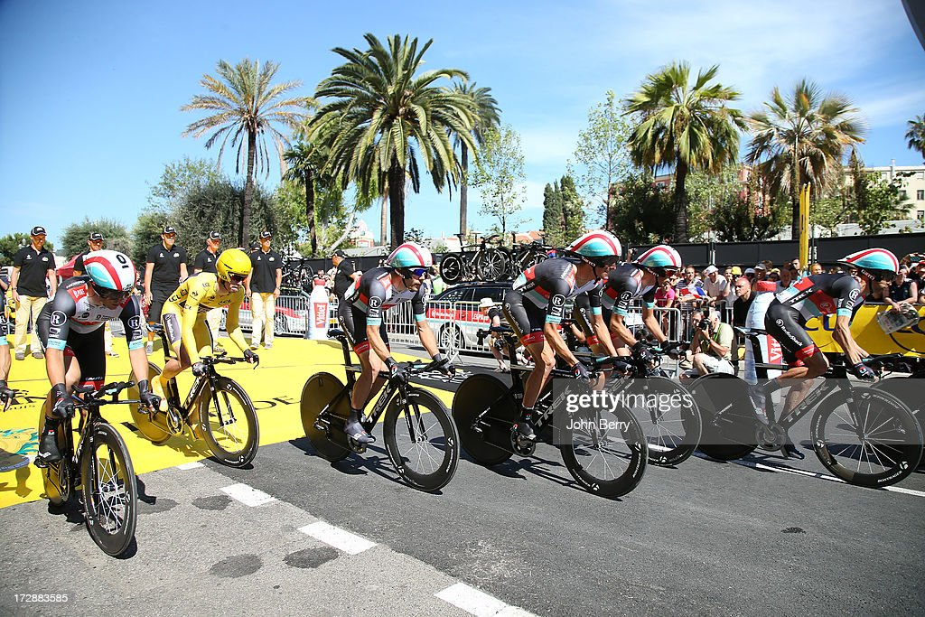 Jan Bakelants of Belgium, Andy Schleck of Luxembourg and Team Radioshack Leopard during Stage Four of the Tour de France 2013 - the 100th Tour de France -, a 25km team time trial around Nice on July 2, 2013 in Nice, France.