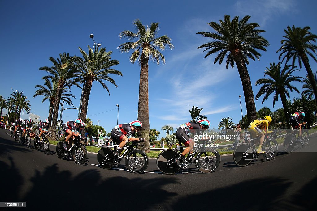Jan Bakelants of Belgium (yellow) competes in Team Radioshack Leopard during stage four of the 2013 Tour de France, a 25KM Team Time Trial on July 2, 2013 in Nice, France.
