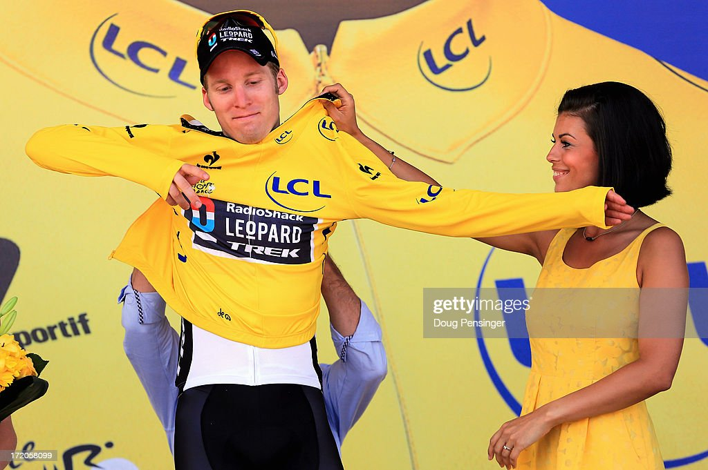 Jan Bakelants of Belgium riding for Radioshack Leopard takes to the podium after he defended the overall race leader's yellow jersey in stage three of the 2013 Tour de France, a 145.5KM road stage from Ajaccio to Calvi, on July 1, 2013 in Calvi, France. The 100th edition of Le Tour de France commences on the island of Corsica and ends July 21 in Paris.