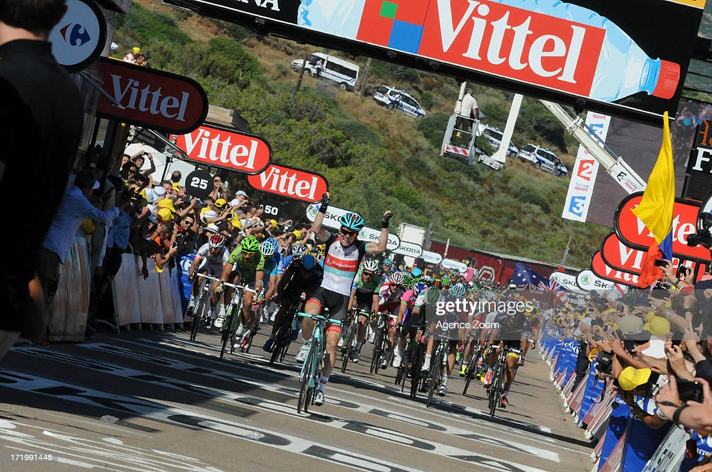 Jan Bakelants of Team Radioshack Leopard winning Stage 2 of the Tour de France a road stage between Bastia and Ajaccio on June 30, 2013 in Ajaccio, Corsica, France.