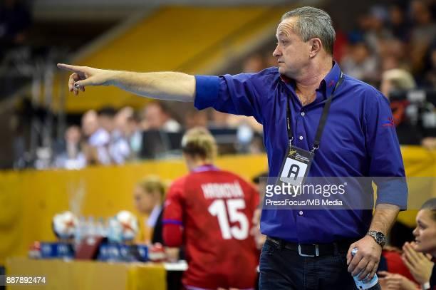 Jan Basny head coach of Czech Republic reacts during IHF Women's Handball World Championship group B match between Czech Republic and Norway on...