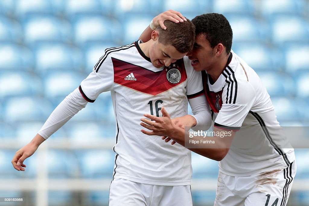 Jan Baxmann and Mika Timothy Hanraths of Germany celebrate a goal during the UEFA Under17 match between U17 Portugal v U17 Germany on February 9, 2016 in Estádio Algarve, Loulé, Portugal.