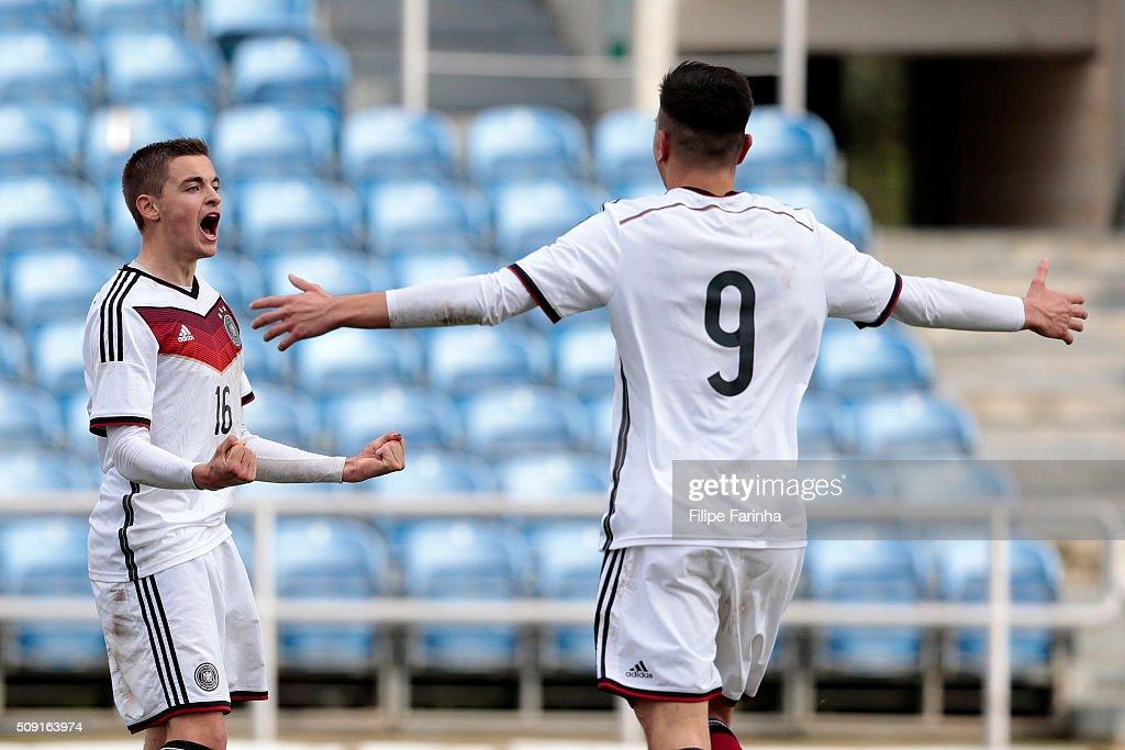 Jan Baxmann and Renat Dadashov of Germany celebrate a goal during the UEFA Under17 match between U17 Portugal v U17 Germany on February 9, 2016 in Estádio Algarve, Loulé, Portugal.