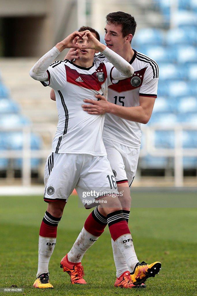 Jan Baxmann and Sven Sonnenberg of Germany celebrate a goal during the UEFA Under17 match between U17 Portugal v U17 Germany on February 9, 2016 in Estádio Algarve, Loulé, Portugal.