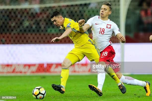 Jan Bednarek Aslan Barabaev during the FIFA World Cup 2018 qualification match between Poland and Kazakhstan in Warsaw on September 4 2017