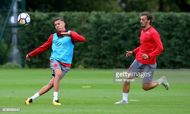 Jan Bednarek during a Southampton FC training session at the Staplewood Campus on August 9 2017 in Southampton England