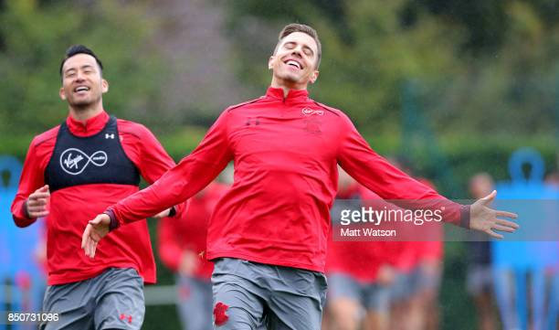Jan Bednarek during a Southampton FC training session at the Staplewood Campus on September 21 2017 in Southampton England