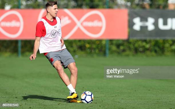 Jan Bednarek during a Southampton FC training session at the Staplewood Campus on October 12 2017 in Southampton England