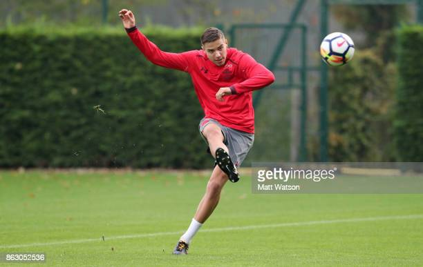Jan Bednarek during a Southampton FC training session at the Staplewood Campus on October 19 2017 in Southampton England