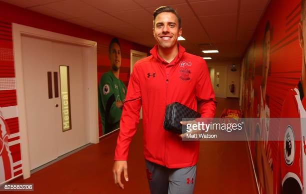 Jan Bednarek of Southampton arrives during the preseason friendly between Southampton FC and Augsburg at St Mary's Stadium on August 2 2017 in...