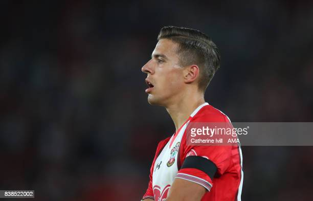 Jan Bednarek of Southampton during the Carabao Cup Second Round match between Southampton and Wolverhampton Wanderers at St Mary's Stadium on August...