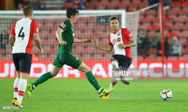 Jan Bednarek of Southampton during the preseason friendly between Southampton FC and Augsburg on August 2 2017 in Southampton England