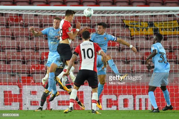 Jan Bednarek of Southampton heads towards goal during the Carabao Cup Second Round match between Southampton and Wolverhampton Wanderers at St Mary's...