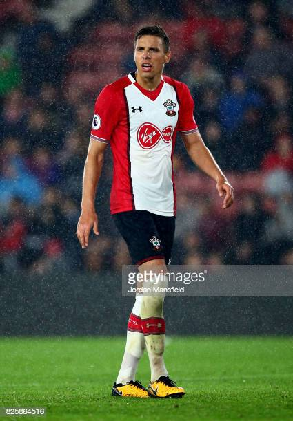 Jan Bednarek of Southampton in action during the PreSeason Friendly match between Southampton and FC Augsburg at St Mary's Stadium on August 2 2017...