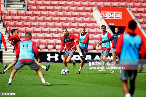Jan Bednarek Oriol Romeu during a Southampton FC training session at St Mary's Stadium on September 14 2017 in Southampton England