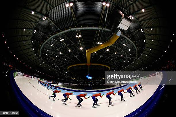 Jan Blokhuijsen and Koen Verweij both of the Netherlands compete in the Mens 10000m race during day two of the Essent ISU World Allround Speed...