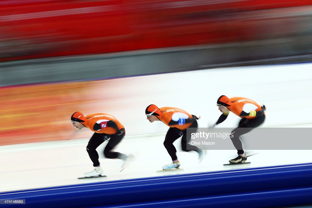 Jan Blokhuijsen, Koen Verweij and Sven Kramer of the Netherland compete during the Men's Team Pursuit Final A Speed Skating event on day fifteen of the Sochi 2014 Winter Olympics at at Adler Arena Skating Center on February 22, 2014 in Sochi, Russia.