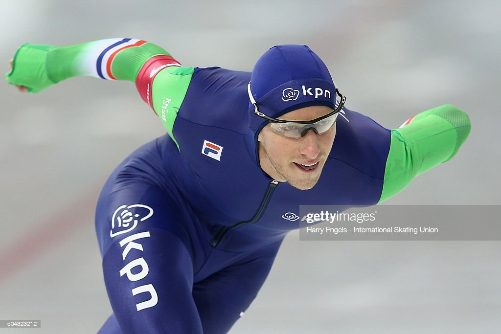 <a gi-track='captionPersonalityLinkClicked' href=/galleries/search?phrase=Jan+Blokhuijsen&family=editorial&specificpeople=4900694 ng-click='$event.stopPropagation()'>Jan Blokhuijsen</a> of the Netherlands competes in the Men's 1500m on day two of the ISU European Speed Skating Championships at the Minsk Arena on January 10, 2016 in Minsk, Belarus.