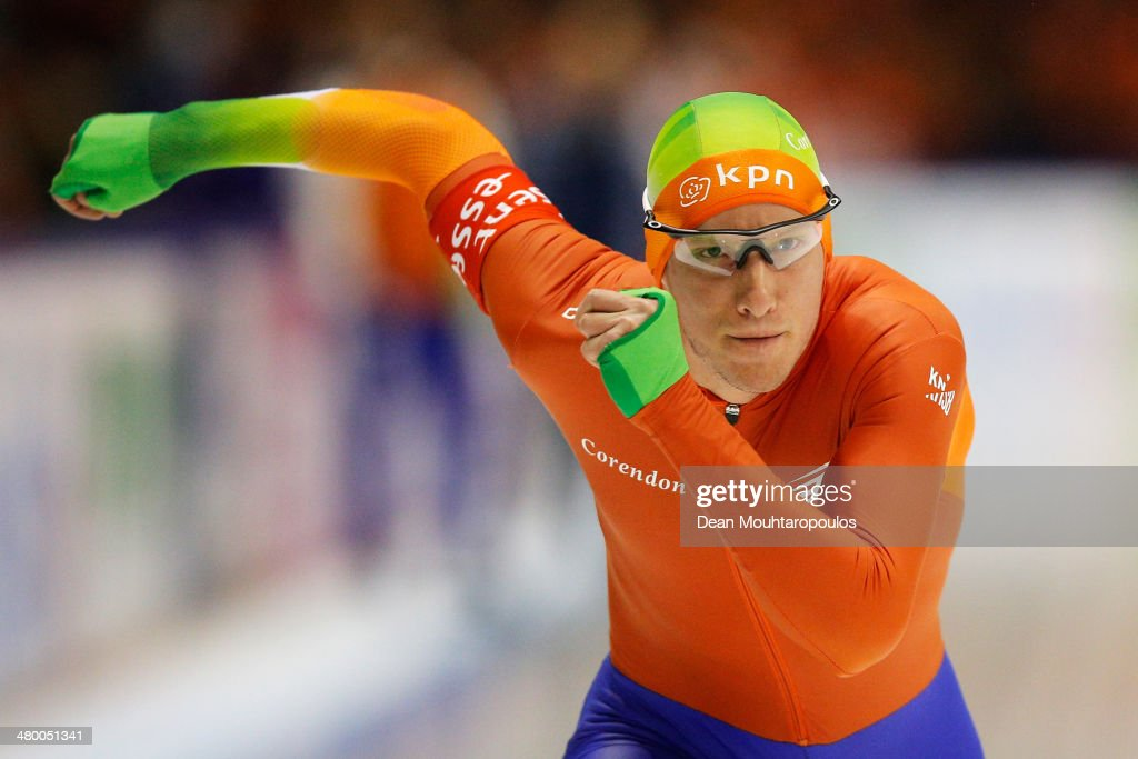 <a gi-track='captionPersonalityLinkClicked' href=/galleries/search?phrase=Jan+Blokhuijsen&family=editorial&specificpeople=4900694 ng-click='$event.stopPropagation()'>Jan Blokhuijsen</a> of the Netherlands competes in the Mens 5000m race during day one of the Essent ISU World Allround Speed Skating Championships at the Thialf Stadium on March 22, 2014 in Heerenveen, Netherlands.