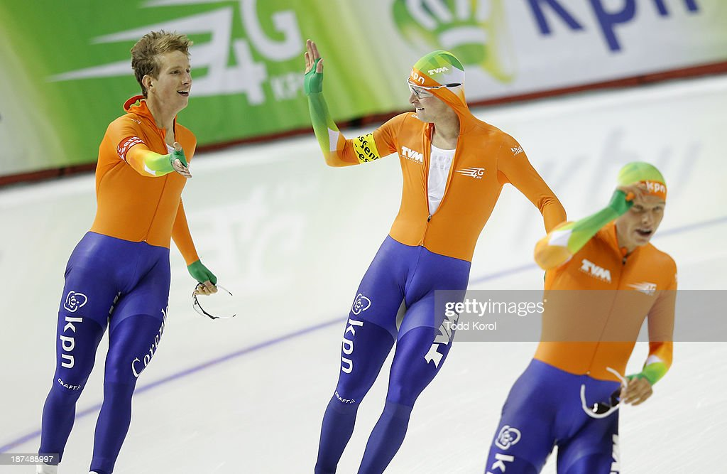 Jan Blokhuijsen (L-R) <a gi-track='captionPersonalityLinkClicked' href=/galleries/search?phrase=Sven+Kramer&family=editorial&specificpeople=769363 ng-click='$event.stopPropagation()'>Sven Kramer</a> and Koen Ver Weij of the Netherlands celebrate their new world record in the men's team pursuit race during the ISU World Cup Speed Skating event November 9, 2013 in Calgary, Alberta, Canada.