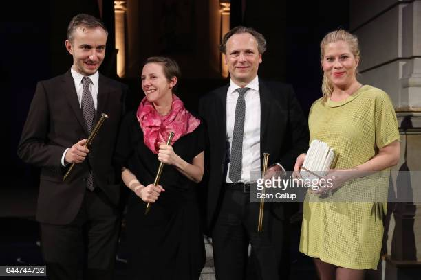 Jan Boehmermann Karin Mueller HansChristian Schwingen and Jo Marie Farwick hold their awards at the ADC Night of Honour 2017 on February 23 2017 in...