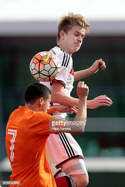 Jan Boller of Germany challenges Mohamed Mallahi of Netherlands during the UEFA Under16 match between U16 Germany v U16 Netherlands on February 8...