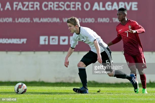 Jan Boller of Germany U17 challenges Umaro Embaló of Portugal U17 during the U17 Algarve Cup Tournament Match between Portugal U17 and germany U17 on...