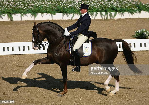 Jan Brink of Sweden riding Briar competes in the individual dressage grand prix freestyle event on August 25 2004 during the Athens 2004 Summer...