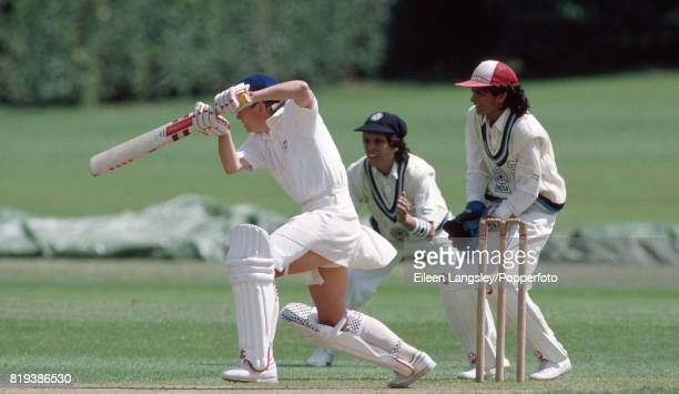 Jan Brittin of England batting during the Women's Cricket World Cup match between England and India at the Memorial Ground in Finchampstead on 25th...