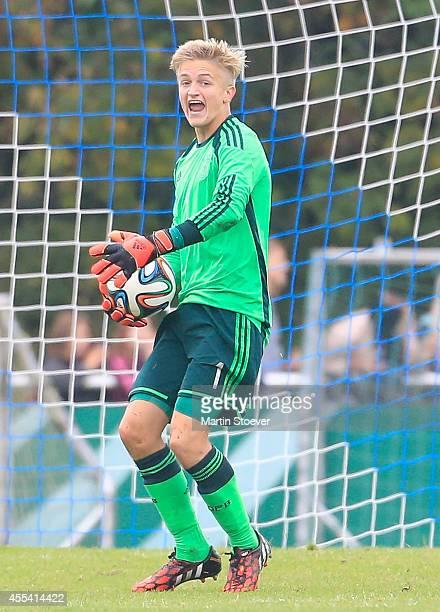 Jan Christioph Bartels of U16 Germany plays the ball during the match between U16 Germany v U16 Belgium at HeinzDettmerStadion on September 12 2014...