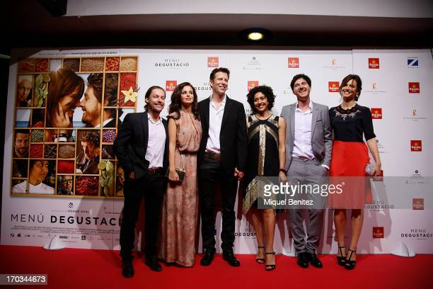 Jan Cornet Marta Torne Andrew Tarbet Vicenta N'Dongo Roger Gual and Claudia Bassols pose on the red carpet for the premiere of their latest film...