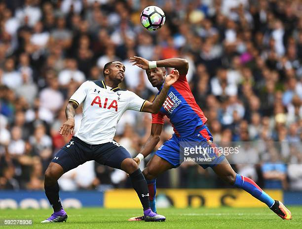 Jan Danny Rose of Tottenham Hotspur and Wilfried Zaha of Crystal Palace battle for possession during the Premier League match between Tottenham...