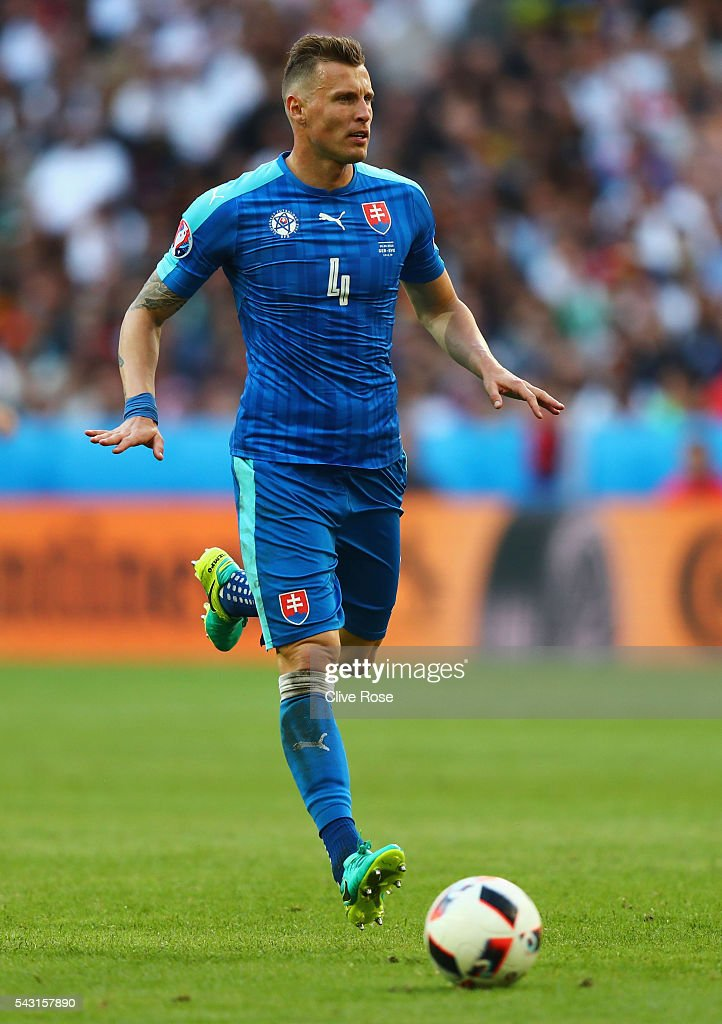 Jan Durica of Slovakia in action during the UEFA EURO 2016 round of 16 match between Germany and Slovakia at Stade Pierre-Mauroy on June 26, 2016 in Lille, France.