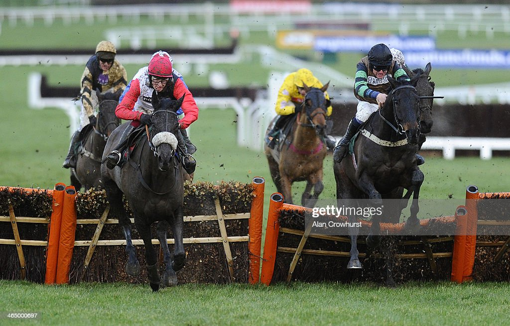 Jan Faltejsek riding Knockara Beau (R) clear the last to win The Cleeve Hurdle with Big Bucks and Sam Twiston-Davies (L) finishing third at Cheltenham racecourse on January 25, 2014 in Cheltenham, England.