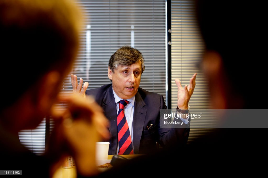 <a gi-track='captionPersonalityLinkClicked' href=/galleries/search?phrase=Jan+Fischer&family=editorial&specificpeople=4250425 ng-click='$event.stopPropagation()'>Jan Fischer</a>, Czech Republic's finance minister, speaks during an interview in Prague, Czech Republic, on Thursday, Sept. 19, 2013. Czech deficit reduction has helped secure the highest rating in the post-communist EU at Moody's Investors Service and Standard & Poor's, on par with euro-region member Estonia. Photographer: Martin Divisek/Bloomberg via Getty Images