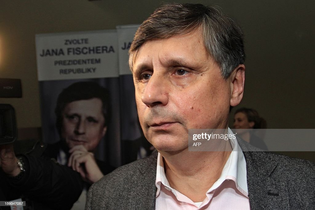 Jan Fischer is pictured as the results of the first round of presidential elections are being counted on January 12, 2013 in Prague at his election headquarters. Former centre-right prime minister Jan Fischer, who had led opinion polls ahead the vote, scored 17.06 percent, ahead of leftist senator Jiri Dienstbier with 16.7 percent. Czech rivals Milos Zeman, a former premier and veteran left-winger, and right-wing Foreign Minister Karel Schwarzenberg, topped the results of the presidential election Saturday and will face off in a runoff later this month.