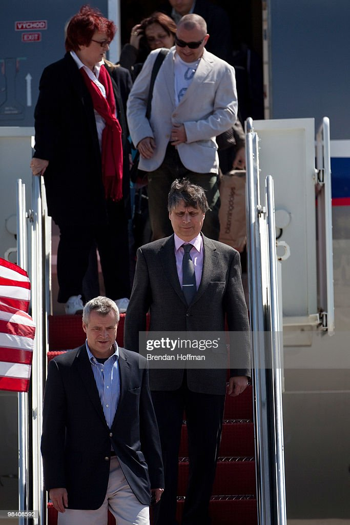 <a gi-track='captionPersonalityLinkClicked' href=/galleries/search?phrase=Jan+Fischer&family=editorial&specificpeople=4250425 ng-click='$event.stopPropagation()'>Jan Fischer</a> (C), Prime Minister of the Czech Republic, arrives with his delegation on April 12, 2010 at Andrews Air Force Base in Maryland. Leaders from around the world are meeting in Washington this week for a two-day nuclear security summit convened by President Obama.