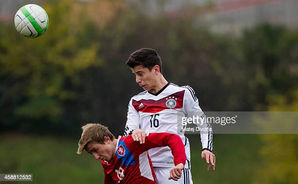 Jan Fortelny of Czech Republic battles for the ball with Kai Havertz of Germany during the international friendly match between U16 Czech Republic...